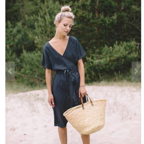 Linenfox MIMOSA wrap linen dress NWT
